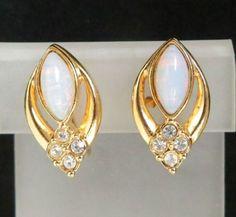 Vintage AVON Clip on Earrings Opal & by LeesVintageJewels on Etsy