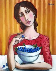 A Girl and a Bowl Full of Blueberries by Jennifer Yoswa