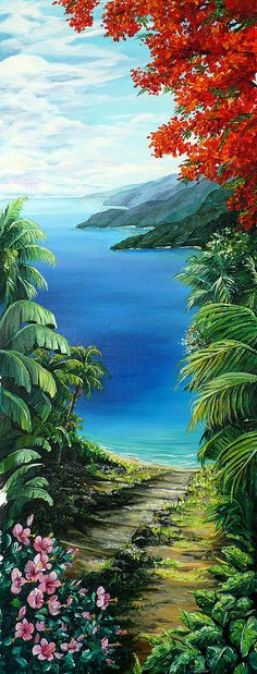 Tropical Painting Caribbean Painting Sea Scape Painting Seaview Painting Flamboyant Painting   Island Painting    Painting - My View  by Karin  Dawn Kelshall- Best
