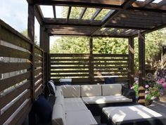 garage roof deck steel pergola with kona stain | Yelp