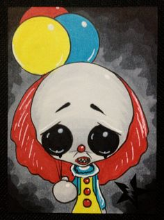 Sugar Fueled Pennywise It Clown Horror lowbrow creepy cute big eye ACEO mini print on Etsy, $4.00