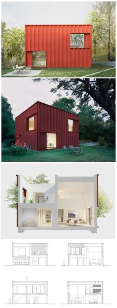 The Hemnet Home-Sweden by Tham & Videgard Arkitekter Prefab Container Homes, Sea Container Homes, Container Buildings, Container Architecture, Shipping Container Homes, Architecture Design, Shipping Containers, Tiny House Design, Modern House Design