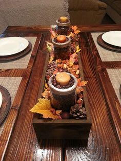 Decorated wooden box with fall colors and displayed on my farmhouse table. Just Add Some Java blogspot