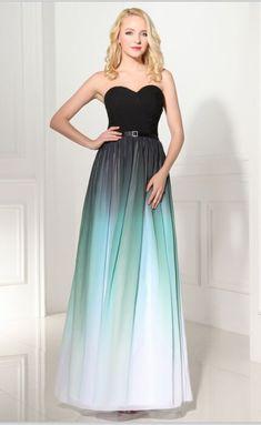 Gradient Chiffon A line Gown