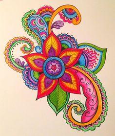Doodle Designs, Wall Art Designs, Design Art, Art Africain, Flower Doodles, Zen Art, Color Pencil Art, Motif Floral, Arte Pop