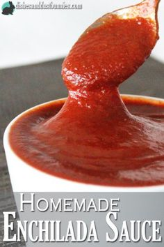 Homemade enchilada sauce is the best and it gives you the ability to adjust the seasonings to your taste. You can whip this sauce up in about 20 minutes and it uses very simple ingredients! Homemade Enchilada Sauce, Homemade Enchiladas, Homemade Sauce, Mexican Dishes, Mexican Food Recipes, Sauerkraut, Sauce Recipes, Cooking Recipes, Cookbook Recipes