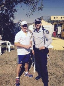 Our own Constable Ezra Aspland fought it down tooth and nail in a death bowling contest against the legendary Australian cricketer Ian Healy, defeating him 81km/hr to 76km/hr to the dismay to Heals. But was happy to get a photo taken with Ezra, losing in style.