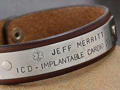 Medical Alert ID Bracelet - Leather Bracelet, Med Alert, Allergy Bracelet, Medical Alert Jewelry on Etsy, $40.00