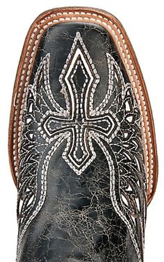Corral® Ladies Distressed Black w/Winged Cross White Inlay Square Toe Western Boot | Cavender's