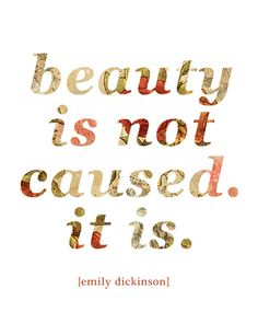 """""""Beauty is not caused. It is."""" {Emily Dickinson}"""