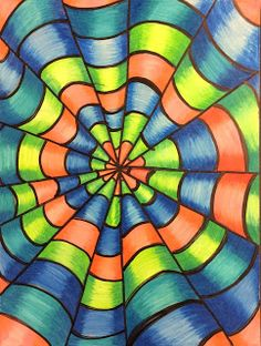 Art Ed Central loves:That Little Art Teacher: Op Art and Colored Pencil Tutorial. - Art Ed Central loves:That Little Art Teacher: Op Art and Colored Pencil Tutorial… Art Ed Central - Club D'art, Art Club, Op Art Lessons, Art Education Lessons, Classe D'art, Colored Pencil Tutorial, 5th Grade Art, School Art Projects, Color Pencil Art