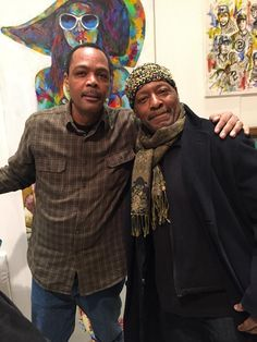An image of artists' Al Johnson and Andrew Nichols at an exhibition where Andrew Nichols artwork was featured. #blackart #art...