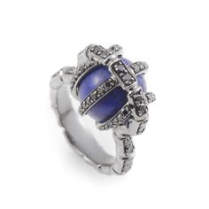 Stephen Webster Bones 18K White Gold Lapis & Black Diamond Ring 3011930002