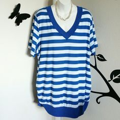 "Blue & White Striped Top This blue and white striped top has short sleeves, v-neck, cute loosely ruched sides, and a banded bottom. Material is polyester / spandex blend.  Size: 22W/24W Bust: Approximately 53"" Length: Approximately 31.5""  New without tags. Faded Glory Tops"
