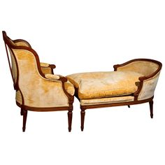 French Louis XVI Chair Duchesse Brisee By Maison Jansen Circa Walnut Bergere chair with a winged back padded armrests and loose cushioned seat. The lounge has a domed back and cushioned seat. Dream Furniture, Lounge Furniture, French Furniture, Living Furniture, Fine Furniture, Furniture Styles, Chairs For Rent, Chairs For Sale, Louis Seize
