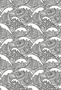 beautiful waves colouring page, in an artistic japanese style. grown up…