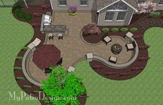 "670 sq. ft. of Outdoor Living Space. Curvy Design Creates Beautiful Areas for Outdoor Dining, Grilling and Fire Pit with Seating. 24"" Tall Sea"