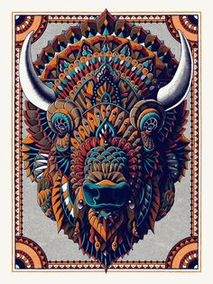 """""""Bison""""-Size: 18"""" x 24"""" inches (45.72 x 60.96 cm)-7 Color Silk Screen Print -French Paper Speckletone True White Cover -Hand Signed-Hand EmbossedARTWORK:This an ornate illustration of the American Bison. There's something very peaceful and serene about these majestic beasts. This drawing was particularly difficult because it's hard to capture the thick fur coverage of the bison's head. After I got going with the general shape of the head, it was..."""