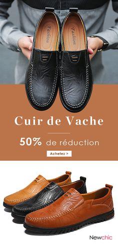 Chaussures pointure large décontractées en cuir de vache à coutures  manuelles avec semelles souples pour homme 45f78c7cd016
