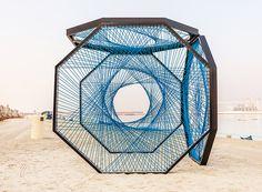 ~ECHOING RECTANGLE~ aljoud lootah weaves sculptural seaside installation using emirati fishing techniques Pavillion Design, Dubai Design Week, Concept Models Architecture, Instalation Art, Street Installation, Fishing Techniques, Stage Design, String Art, Sculpture Art