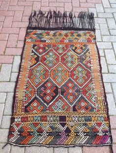Embroidered Turkish Kilim Rugs by KilimRugStore