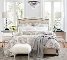Tamsen Curved Upholstered Full Bed with Pewter Nailhead, Sunbrella(R) Performance Sahara Weave Mushroom at Pottery Barn Cushion Headboard, Upholstered Beds, Wingback Bed, Swivel Armchair, Curved Bed, Organic Duvet Covers, French Country Bedrooms, California King Bedding, Headboards For Beds