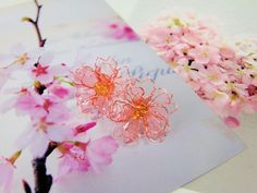 アメリカンフラワー☆八重桜のピアス(ローズピーチ)