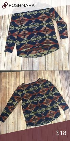 Hi Lo Aztec Sweater In excellent condition, G Weekend Blue Sweater with Cream, Olive and red Aztec print. Slight hi lo hem. 100% acrylic. Size Med G Weekend Sweaters Crew & Scoop Necks