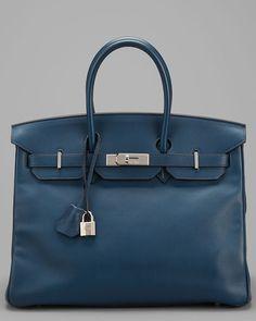 Hermes Blue Swift Chamonix Leather Birkin 35cm PHW  Home #Furniture