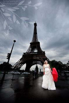 Anna and Spencer Photography, Paris Wedding, France Wedding, Eiffel Tower, Red Umbrella, Day After Session: portrait of the bride & groom after the wedding day.
