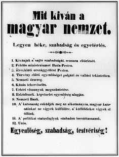 What Does the Hungarian Nation Want? The twelve demands of the 1848 Hungarian Revolution. Hungary, Coloring Books, Letters, Education, History, March, Festivals, Google, School