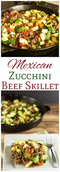 This low carb Mexican zucchini and ground beef recipe is a simple dish made with low cost ingredients. It's an easy LCHF dinner recipe perfect for summer. | LowCarbYum.com via @lowcarbyum