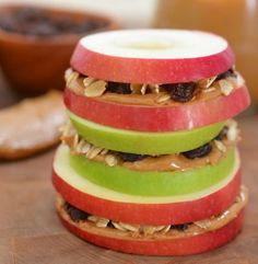 Peanut butter or almond butter and granola on apples... I need to try this