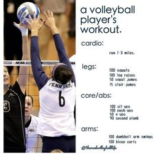 A volleyball player's workout! Do this over a one day period 5 days a week. @Megan Ward Ward Wakley we should do this together after i get my licence! :D