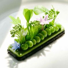 Black trumpet panade, pea purée, sweet peas and garden herbs by Philip Tessier via ChefsTalk for Business