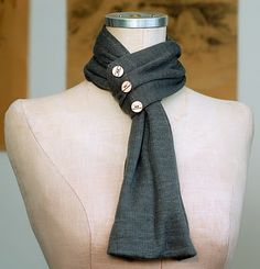 Simple But Clever Scarf Idea...repurpose an old t-shirt and buttons.