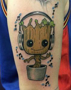 Baby Groot and Music / Tattoo Tattoo Girls, Tattoo For Baby Girl, Girl Tattoos, Tatoos, Hand Tattoos, Body Art Tattoos, Sleeve Tattoos, Tattoos Skull, Disney Tattoos