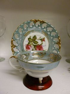Royal Sealy Teacup Saucer Set China Tea Cup Gold and Light Blue with Pink Roses
