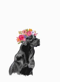 Black Lab Flower Crown by annatyrrell on Etsy