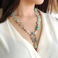 Boho Necklace Gypsy Necklace Pearl by ShelleyCooperJewelry on Etsy