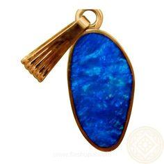 Blue Opal Pendant 14k Yellow Gold