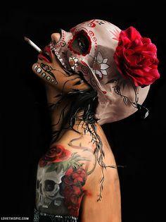 Skull Girl Art tattoos makeup art skull painting digital tats
