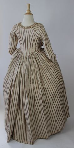 Striped 18th Century Robe in Silk and Cotton with Self Fabric Ruching and Bows | eBay