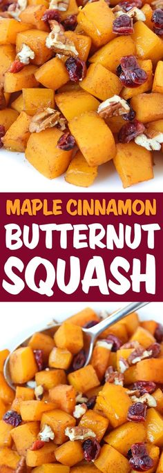 AMAZING maple-glazed roasted butternut squash with cinnamon! Easy and perfect a… AMAZING maple-glazed roasted butternut squash with cinnamon! Easy and perfect autumn side dish or for Thanksgiving and holidays! Healthy Sweet Snacks, Nutritious Snacks, Healthy Recipes, Vegetable Side Dishes, Vegetable Recipes, Veggie Recipes Sides, Vegetarian Side Dishes, Keto, Thanksgiving Side Dishes