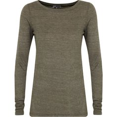 Vince Space Jersey Top ($210) ❤ liked on Polyvore featuring tops, sweaters, charcoal, vince tops, brown sweater, vince sweaters, charcoal sweater and brown tops