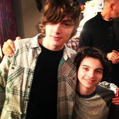 Miles Heizer (Drew) and and Max Burkholder (Max) on the set of Parenthood.
