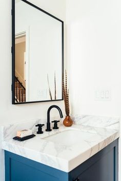 With so many bathroom sink ideas out there, it wouldn't be surprising if you started to feel overwhelmed. That's why we're here with a few basic deets to help you narrow things down, along with these points to consider. #hunkerhome #bathroomsinkideas #bathroomsink #bathrooms #sinkideas