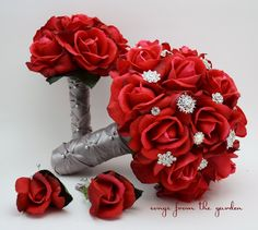 Red Roses & Rhinestones Bridal Bouquet Real Touch Bridal Bouquet Roses Bridesmaid Bouquet Groom Groomsman Boutonniere