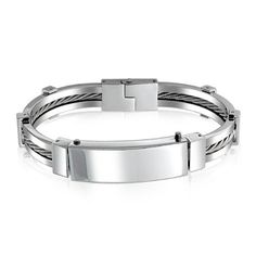 Valentines Day Gifts Bling Jewelry Mens Steel Fifty Shades of Grey Fetish Inspired ID Handcuff Bracelet Bling Jewelry. $25.99. .5in wide, 8.5in long. Silver cable down center. Stainless Steel. Weighs 53 grams. Handcuff style mens bracelet