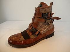 Mauri High Top Ostrich Leg Sneaker Boot Cognac